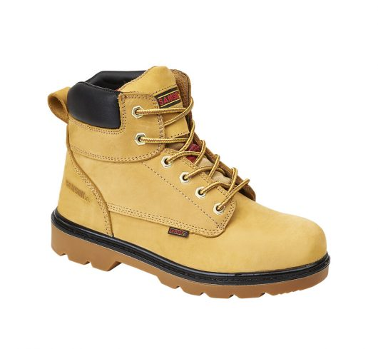 This image shows the SamsonXL Salem safety boot in honey nubuck with black padded collar and sole trim