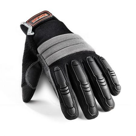 This image shows Scruffs shock imapct gloves, with grey knuckle bumper and protective plastic over fingers