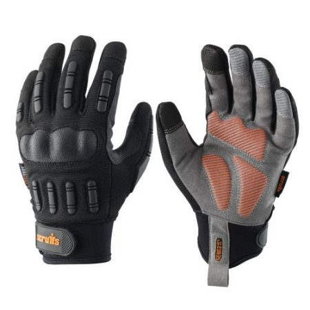 This image shows Scruffs Trade Shock Impact working gloves with silicone palm grip, padded knuckles and discreet orange scruffs branding on the back