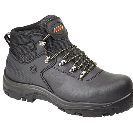 This image shows the SamsonXL Verano black safety boot with metal loops and thick PU/Rubber sole