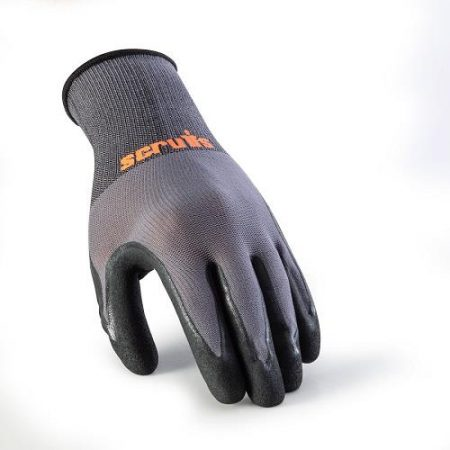 This image shows Scruffs worker gloves with two tone colouring and orange scruffs branding on the wrist
