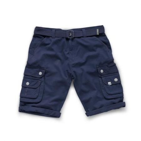 This image shows Scruffs Vintage cargo trade shorts in navy with double pockets on both legs and