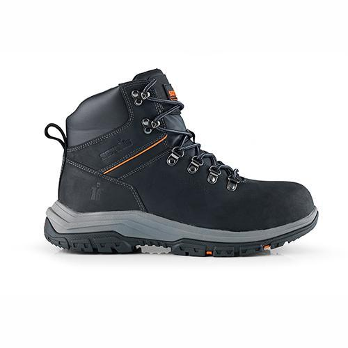 This image shows a side profile of Scruffs Rafter safety boot with two tone grey/black sole and orange detailing