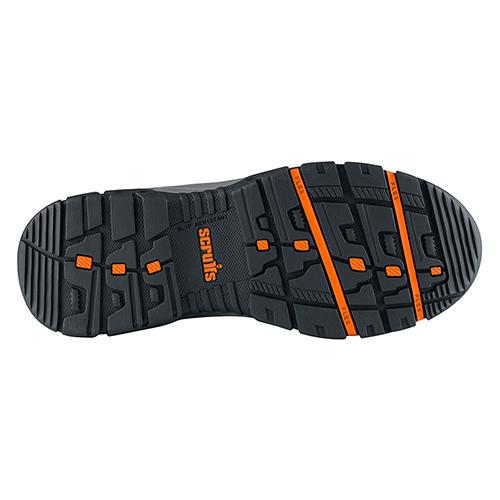 This image shows the slip resistant orange and black sole of Scruffs Rafter safety boot