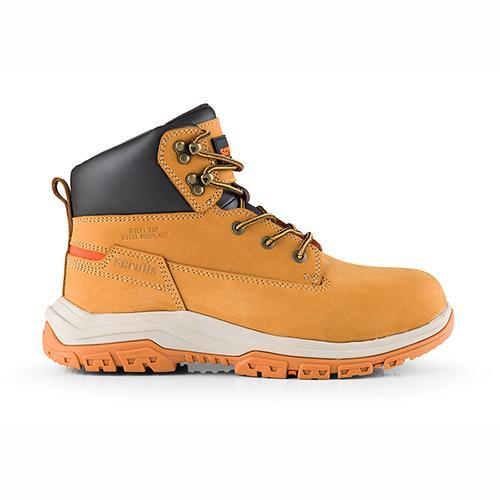 This image shows Scruffs Ridge safety boot in tan with black collar and orange scruffs branding