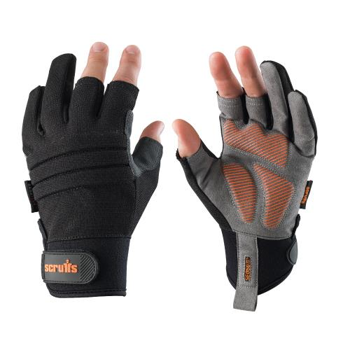 This image shows Scruffs Trade Precision Gloves in black and grey with silicone palm grip and padded knuckles