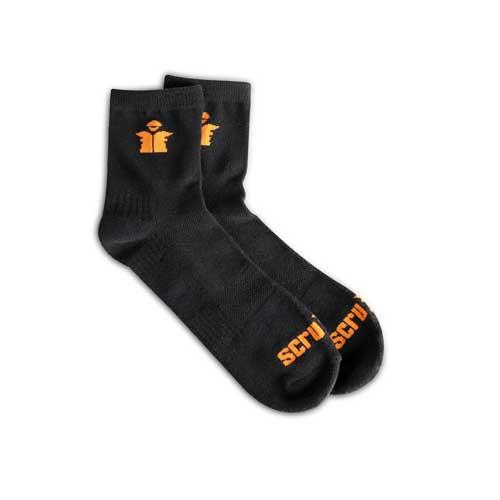 This image shows Scruffs worker lite black quarter cut socks with orange scruffs branding at the toe and top of the sock