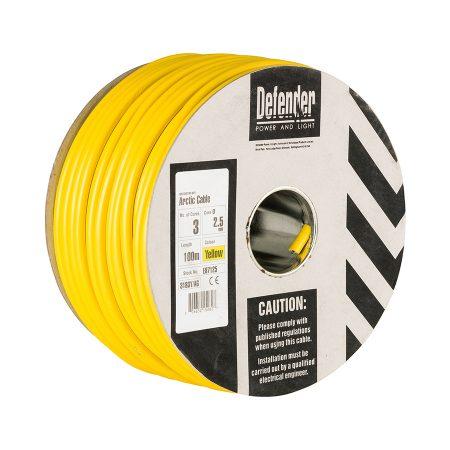 This image shows Defender 4m 100m 3 core cable drum