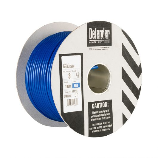This image shows Defender 1.5mm 100m 3 core cable drum