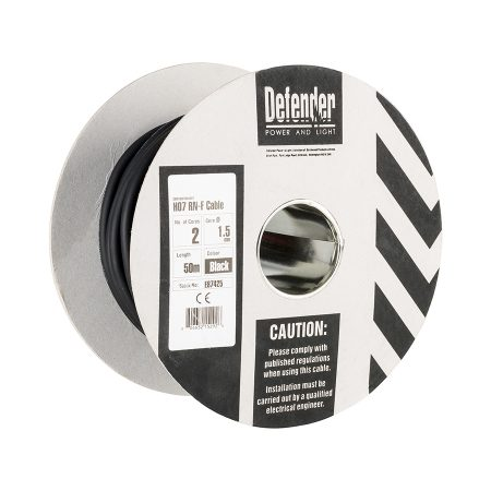 This image shows Defender 1.5mm 50m 2 core cable drum