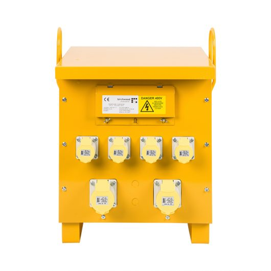 This image shows 10kVA 3 phase site transformer with 6 outlets