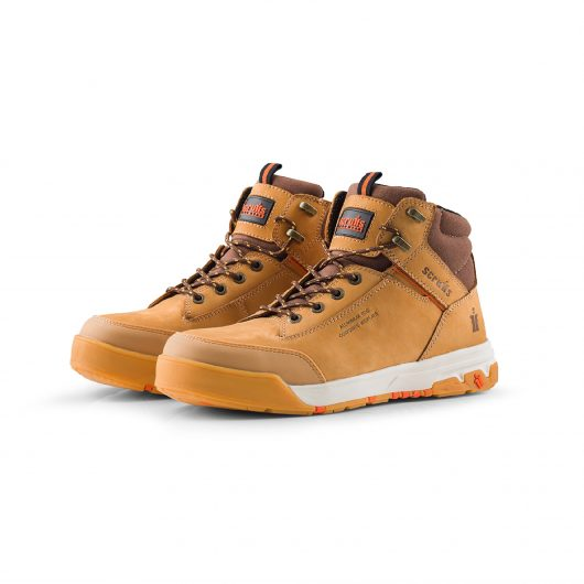 Scruffs Switchback 3 Safety Boot with brown details on the ankle and tongue