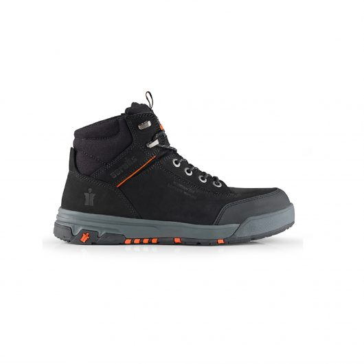 Scruffs Switchback 3 black with orange stitching on upper